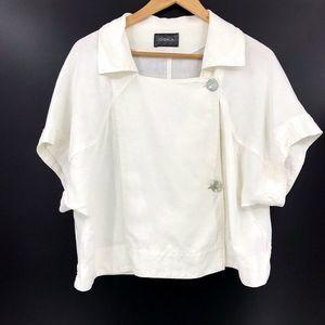 OSKA Short Sleeve Boxy Button Top Lagenlook Linen